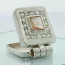 Oregon Sunstone White Sapphire Hand Tooled 925 Silver Hinged Box Locket Pendant