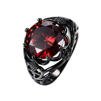 Vintage Round Cut Red Ruby Wedding Ring Women's 10KT Black Gold Filled Size 5-12