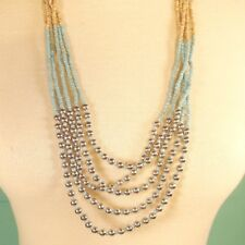 "32"" Aqua Multi Color Block Waterfall Silver Bead Handmade Seed Bead Necklace"