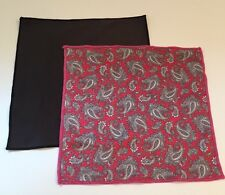 Red Paisley And Solid Black Microfiber Cleaning Clothes