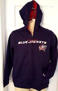 COLUMBUS BLUEJACKETS Youth Hoodie Large 14/16 Reebok Sweatshirt Embroidered Logo