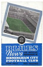 Birmingham City Home Team Written - on Football Programmes