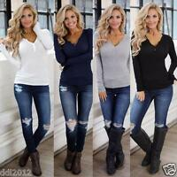 Fashion Womens T Shirt Long Sleeve V Neck Loose Bandage Buttoned Blouse Top