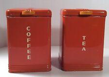 Vintage 1930's Kreamer Kitchen Canisters Tin Box W/ Bakelite Knobs RARE Set Of 2