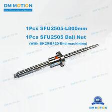 DIY CNC 25mm Ballscrew SFU2505 800mm RM2505 +Ballnut with BK20BF20 end machining