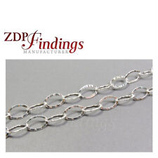 1 Meter Sterling Silver 925 Chain Oval Flat Hammered Links 8x5mm (7540231)