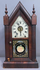 New Listing19thC Antique Victorian Era New Haven Old Cathedral Steeple Wood Mantel Clock