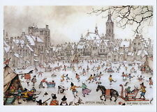 Anton Pieck Art Print Winter Holidays Snow Scene Ice Skater Skating Horse Sleigh