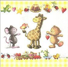 2 serviettes en papier Naissance Animal Girafe Paper Napkins Baby Little friends