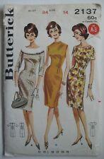 Vintage Butterick 2137 Wiggle Dress 1960's Sewing Pattern Cut Size 14 Bust 34