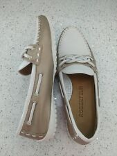 ROBERT ZUR White Tan Metallic Driving Boat Loafer Moccasin Flats U 7.5 Excellent
