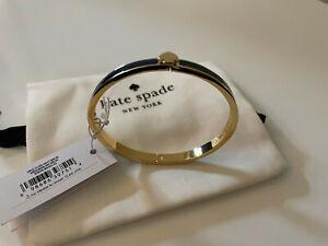 New Kate Spade New York - Bangle Mini Hinged Bracelet Enamel, Navy Gold, £40