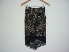 """GORGEOUS WOMEN'S """"LILY WHYT"""" BLACK LACE SKIRT WITH NUDE UNDERLAY/SLIP SIZE 6-NWT"""