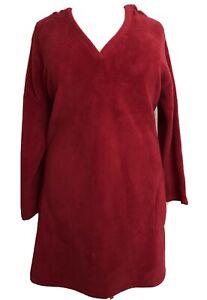 AVENUE Womens Plus 30/32 4X Red Cozy Hoodie Nightgown Sleep Shirt Soft Warm PJs