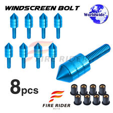 FRW Blue 8pcs Spike Windscreen Bolts 5mm Kit For Motorcycle