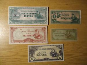 Banknoten Japanische Besetzung II WK - Erhaltung auch kassenfrisch - 5 Stück
