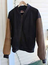 MEN'S FREE COUNTRY LEATHER BASEBALL JACKET Gray and Brown Large