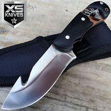 """6"""" BONE EDGE BUCK EMBLEM SKINNER Stainless Steel Black WOODEN Hunting Knife"""
