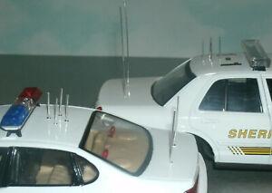 Twelve 1/24 Scale Police Vehicle Radio Antennas (12) Metal Short & Whip Aerials