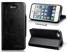 Funda Stand MAGNETICA ORIGINAL CALIDAD iPhone 5 5S Negro Cuero Flip Folio Bumper