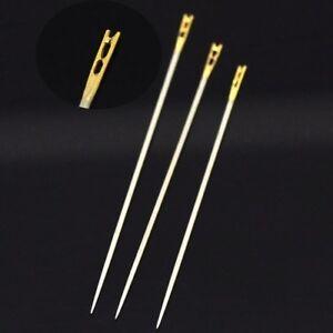 Lot de 3 AIGUILLES FACILES à enfiler 36mm/39mm/42mm CHAS OUVERT perles PERLAGE