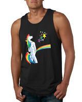 Offensive Peeing Unicorn Funny Mens Rainbow Tank Top Horse Humor Muscle Shirt