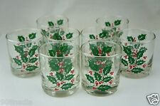 VINTAGE GLASSWARE BARWARE PARTY 8 BRANDY ROCK GLASS SET HOLLY BERRY CHRISTMAS
