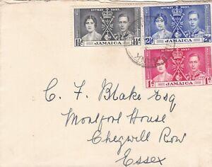 Jamaica 1937 Coronation FDC  to Chigwell Row Essex UK