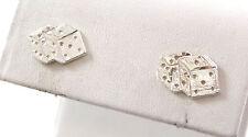 Vintage Sterling Silver Luck, Diamond Cut Dice Stud Earrings (1.3g) - 433277aaa
