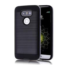 LG G5 Slim Hybrid Hard Armour Tough Shockproof Cover Case Brush Metal Finish