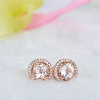 1.25Ct Round Cut Peach Morganite Halo Stud Women's Earrings 14K Rose Gold Finish