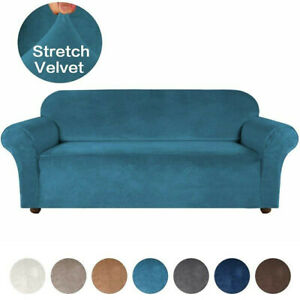 Elastic Stretch Velvet Arm Sofa Cover Couch Loveseat Slipcover 1/2/3/4 Seater