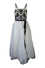 *JEAN ALLEN* VINTAGE BLACK AND WHITE POLKA DOT PROM DRESS (UK 10)