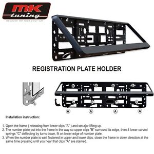 2 x Black Number Plate Holder Licence Plate Surround Frame ABS PC O2