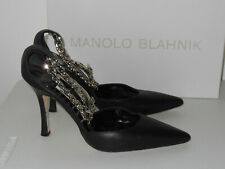 MANOLO BLAHNIK BLACK TAISLAO ANKLE CHAIN LEATHER POINTED TOE PUMPS SIZE 37