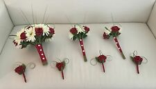 WEDDING FLOWERS PACKAGE ARTIFICIAL DEEP RED IVORY ROSE GERBERA BRIDE BRIDESMAID