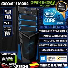 Ordenador Gaming Pc Intel i5 8GB 1TB GTX1060 6GB OC Wifi Office de Sobremesa