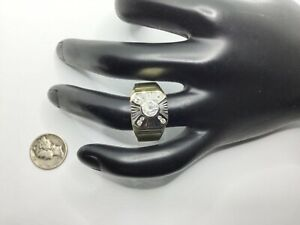 Men's 14K Yellow And White Gold And 0.70+ CTW Diamonds Ring Size 11.5, 13.0 Gr.
