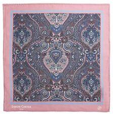 Simon Carter Mens Framed Paisely Silk Pocket Square - Pink