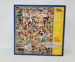 """White Mountain Puzzles Television History 1000 pc Jigsaw Colorful 20×27"""" New"""