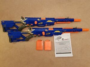 2 x Nerf LongStrike CS-6 Sniper Rifles with Ammo Magazines