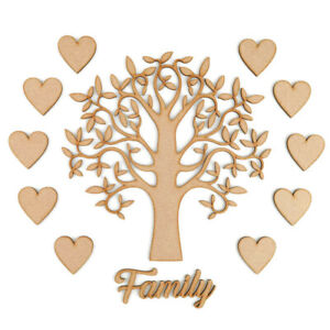 Family Tree Set MDF Laser Cut Wooden Craft Blank Shapes Wedding Love Hearts Gift