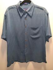 Pendleton Mens Medium Silk Dress Shirt Blue Short Sleeved Pocket Button Up