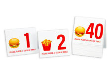 """Plastic Table Numbers 1-40 """"Burger & Fries"""" Tent Style, Free shipping"""