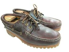 Vintage TIMBERLAND Brown Leather 3-Eye Vibram Boat Shoes Sz. 9.5 W - Made in USA