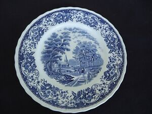 vintage royal tudor ware dinner plate olde england blue & white