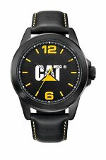 Mens Caterpillar Icon CAT YS16034137 Black Leather Band Black Dial Logo Watch