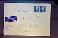 Germany 1960 Airmail Cover to USA w/ 2 40pf Blue - Z1241