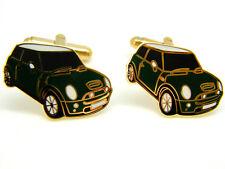 MODERN MINI CAR BADGE CUFFLINKS MENS GOLD TONE NOVELTY GIFT BOX GREEN ENAMEL