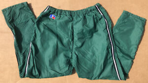 Vintage Russell Athletic Mens Lined Track Pants Medium USA Green Calf Side Zip